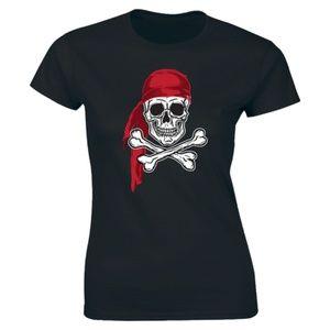 Half It Tops - Ship Sea Skull & Crossbones Pirate Flag T-shirt